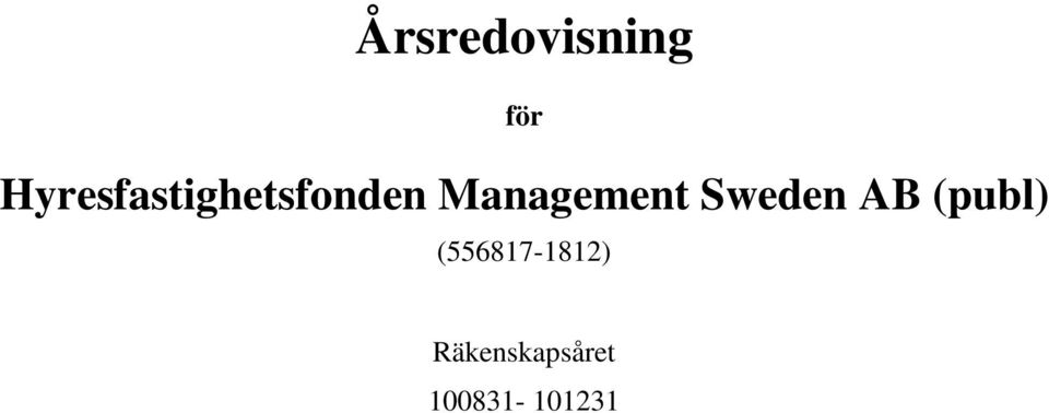 Management Sweden AB (publ)