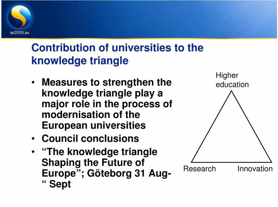 the European universities Council conclusions The knowledge triangle Shaping