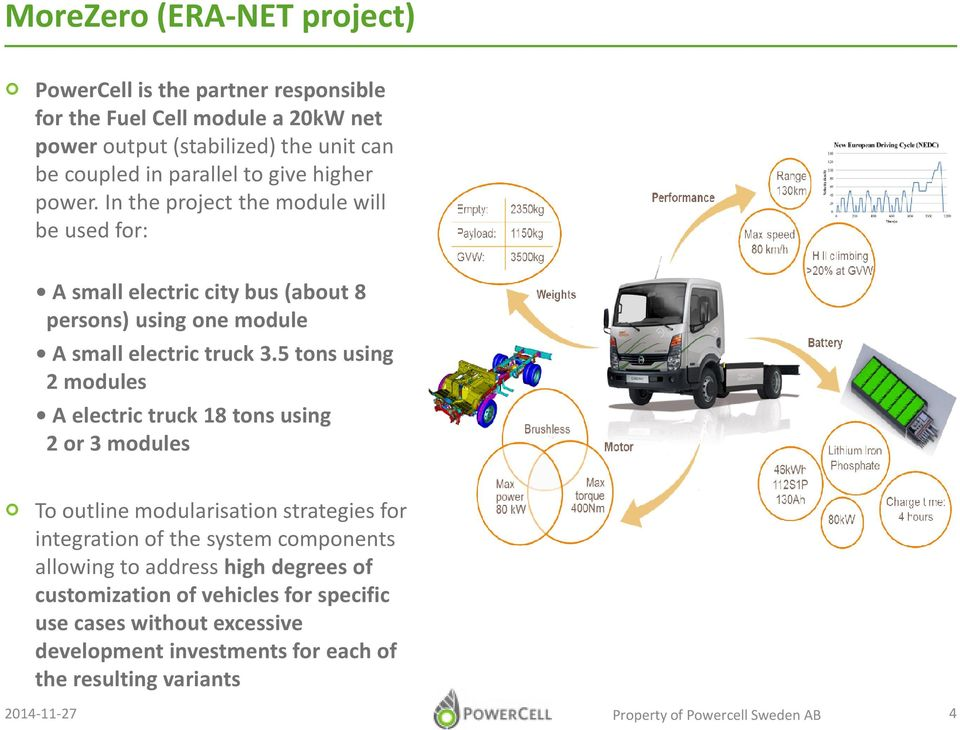 5 tons using 2 modules A electric truck 18 tons using 2 or 3 modules To outline modularisation strategies for integration of the system components allowing to address