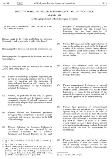 Directive 98/44/EC of the European Parliament and of the Council of 6