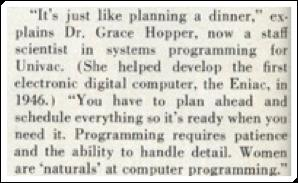 Grace Hopper, now a staff scientist in systems programming for Univac.