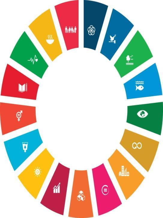 UN SDG Sustainability Development Goals 1. End poverty 17. Partnerships for the goals 2. Zero hunger 16. Peace and justice 3. Health and well-being 15. Life on land 4. Quality education 14.