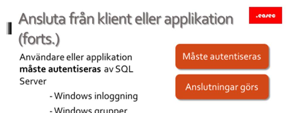 20 Ansluta från klient eller applikation (forts.) Måste autentiseras Användare eller applikation måste autentiseras av SQL Server: - Windows inloggning. - Windows grupper. - SQL Server inloggning.